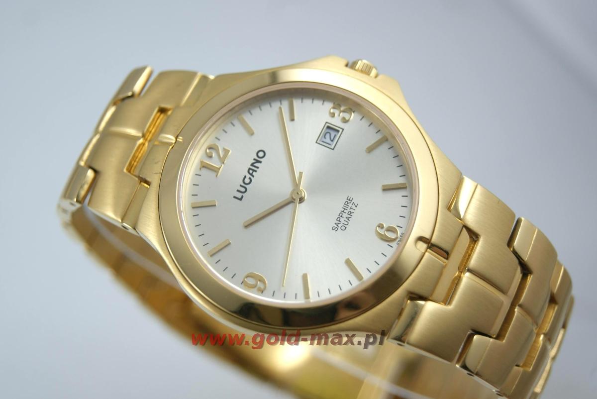 luksusowy klasyczny zegarek szwajcarskiej marki lugano m20046 gold yellow b z szafirowym. Black Bedroom Furniture Sets. Home Design Ideas